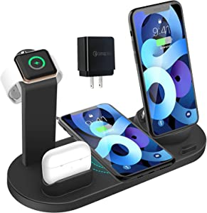Wireless Charger 4 in 1 Charging Dock for iWatch and Airpods Pro Charging Station Charging Stand for iPhone 13/12/12 Mini/11 Pro Max/SE/X/XR/Xs Max 8/8 Plus,for Samsung Galaxy Series Phone