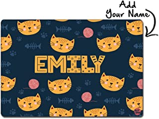 """Nutcase Personalized Poly Premium Fabric Cloth with Reversible Print Dinner Table Mats/Place Mats- 16"""" X 12"""" - Cute Little Cat"""