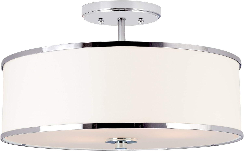 Kira Home Chloe 15  Retro Modern 3-Light Semi-Flush Mount Ceiling Light + White Drum Shade, LED Compatible, Round Tempered Glass Diffuser, Chrome Trim Finish