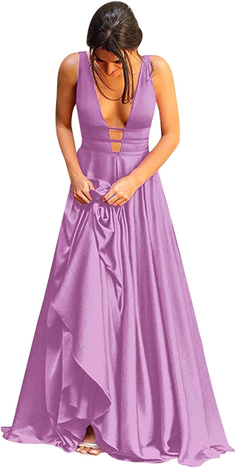 SDRESS Women's Plunging V Neck Backless Aline Long Gown Prom Homecoming Dress