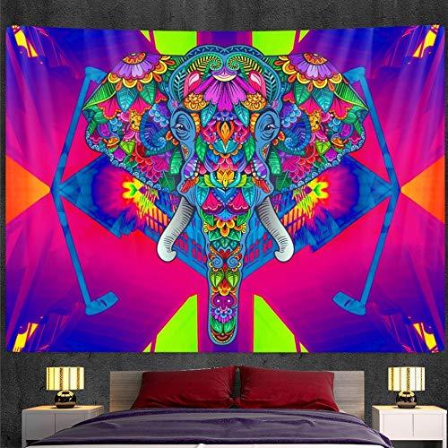 KHKJ Tapiz de Mandala de Elefante Indio, Tapiz de Pared con impresión, Estera de Yoga, Dormitorio, decoración del hogar, colchón Bohemio A2 200x150cm