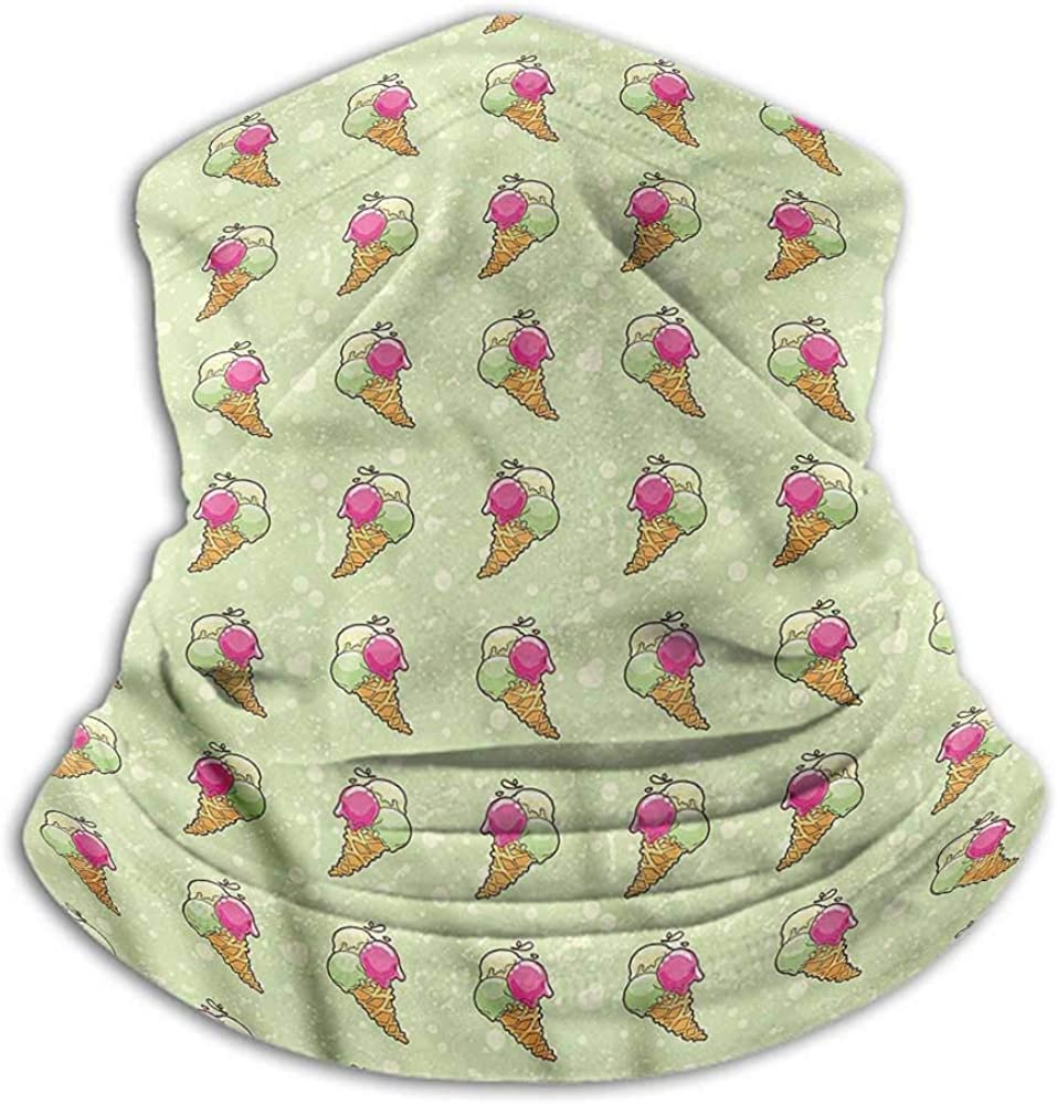 Face Scarf Mask For Men Ice Cream Fishing Neck Gaiter Sun Protection Dairy Waffle Cones 10 x 12 Inch