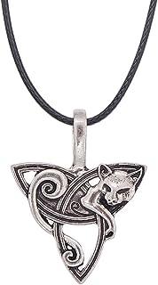 YNuth Collar con colgante de zorro runa vikingo, tono plateado antiguo