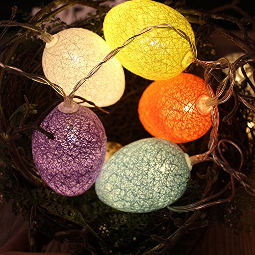 Gshy Easter Egg String Lights Colourful Cotton Ball Battery Powered 3 Metres 20 LED