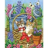 Gofission - Kit de pintura de diamante para amantes de los gatos, con números y diamantes de imitación 5D para punto de cruz, 30,4 x 40,6 cm (gato 2)