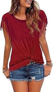 Anbenser WomensFront TwistKnotTops Shirts Short Sleeve Tassles ScoopNeck Tshirt