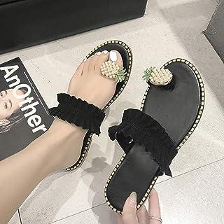 Open Toe Flat Flip Women's Sandals, Blossoms Rhinestones Pineapple Applique Flip Flops Elastic Shoes Non-Slip Summer Slippers,D,35