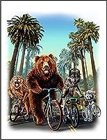 【ロサンゼルス 熊 オオカミ ライオン 自転車】 ポストカード・はがき(白背景)