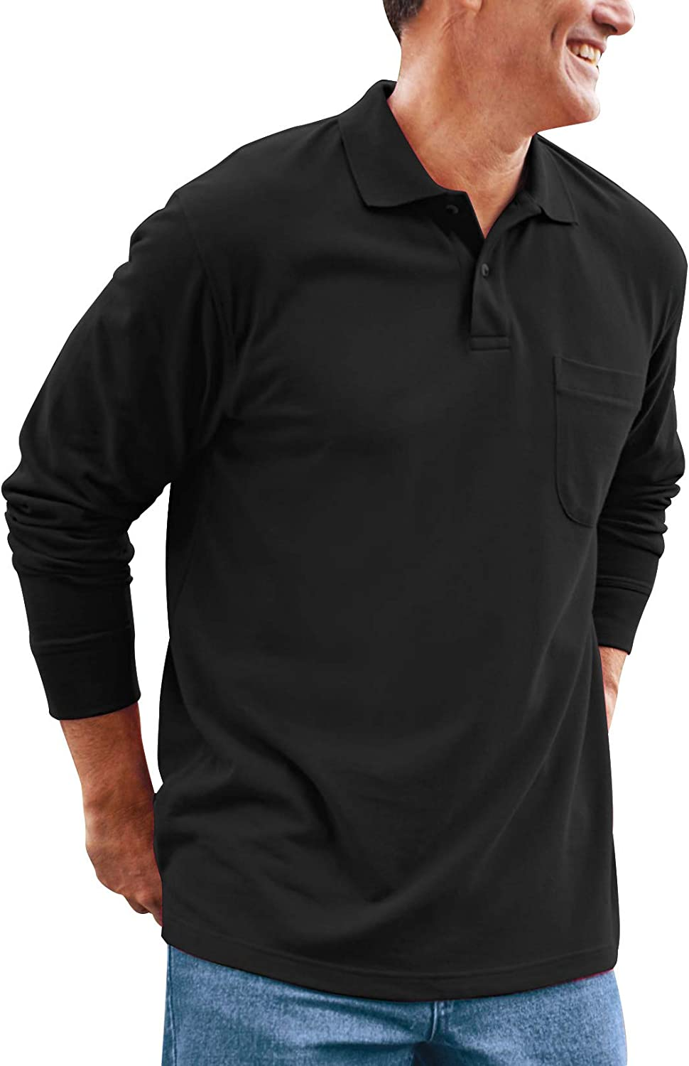 New arrival Brosloth Men's Long Max 85% OFF Sleeve Polo Caus Fit Shirt Regular Classical