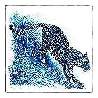 マルチユースマニュアルハンドロールツイルシルクスカーフレディーススリーヘッドキリンスクエアスカーフバイパーラップヘッドスカーフターバンハイハブ90センチ用女性スチュワーデス 絹のスカーフ WSYGHP (Color : Leopard Navy, Size : 90cm X 90cm)