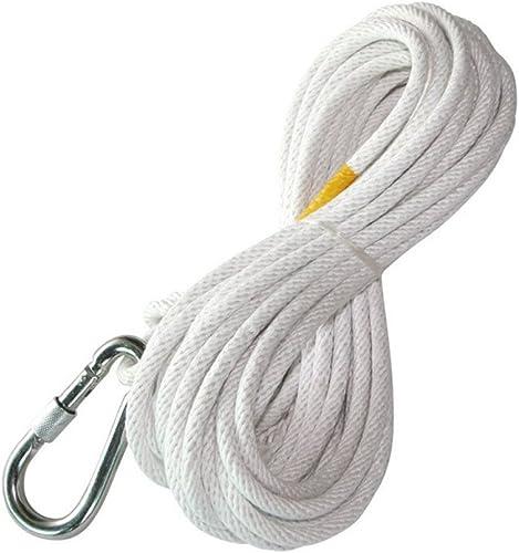 LDFN Corde D'escalade Sauvetage Corde D'échappement Corde De Sécurité Pour Le Travail à Haute Altitude Corde De Feu De Noyau De Cable Métallique,blanc-15m8mm