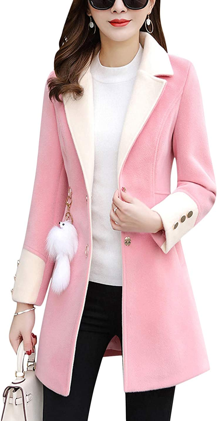 Uaneo Women's Solid Soft Notch Block Lapel Color Breasted Ranking depot integrated 1st place Single