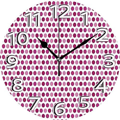 AZHOULIULIU Co.,ltd Lunares Resumen Vibrante Tonos Círculo Pequeño Disco Redondo Puntos en Forma de Imagen Retro Magenta Rosa Pálido Reloj Silencioso