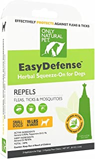 Only Natural Pet Flea and Tick Prevention for Dogs - EasyDefense Flea Remedy - Natural Flea Treatment Control Herbal Squeeze-On Drops - Three Month Supply