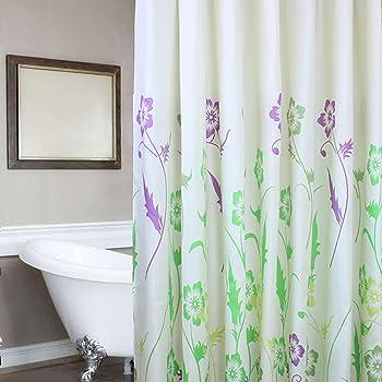 Amazon Com Riverbyland Flower White Purple Shower Curtains 72 X