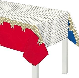 طاولة حفلات بلاستيكية حمراء وذهبية من «وندر ومان كلاسيك»، غطاء 54 بوصة × 96 بوصة