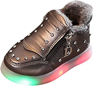Kids LED Slip on Sneakers Light Up Flashing Sneakers Girls Boys Soft Knit Comfortable Walking Shoes (Toddler/Little Kid)