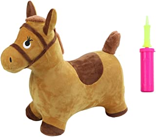 Coedfa Inflatable Hopping Horse Hopper Toys Ride On Bouncy Animal Play Toy Eco-Friendly Plush Covered Pony with Pump Kids Indoor Activities Gift for 2 3 4 5 6 Toddler Boys Girls