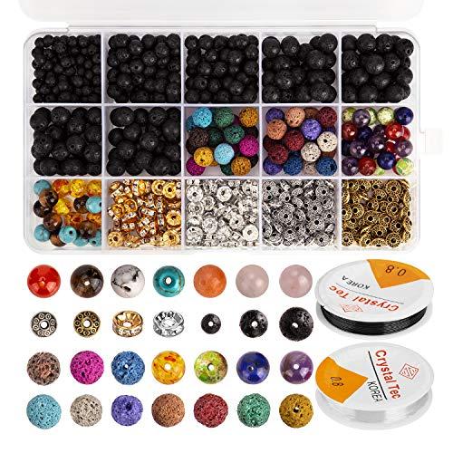 AIEX 606 Perles de Pierre de Lave Assorties de Perles de Chakra colorées Spacer Perles avec 2 Rouleaux de Cordes Extensibles et 2 Aiguilles de Perle pour Un Bracelet en Huile Essentielle pour Adultes