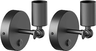 ledscom.de Lámpara de pared Vintage E27 FETRO con interruptor, negro, giratorio, 100mm Ø, 2pcs.