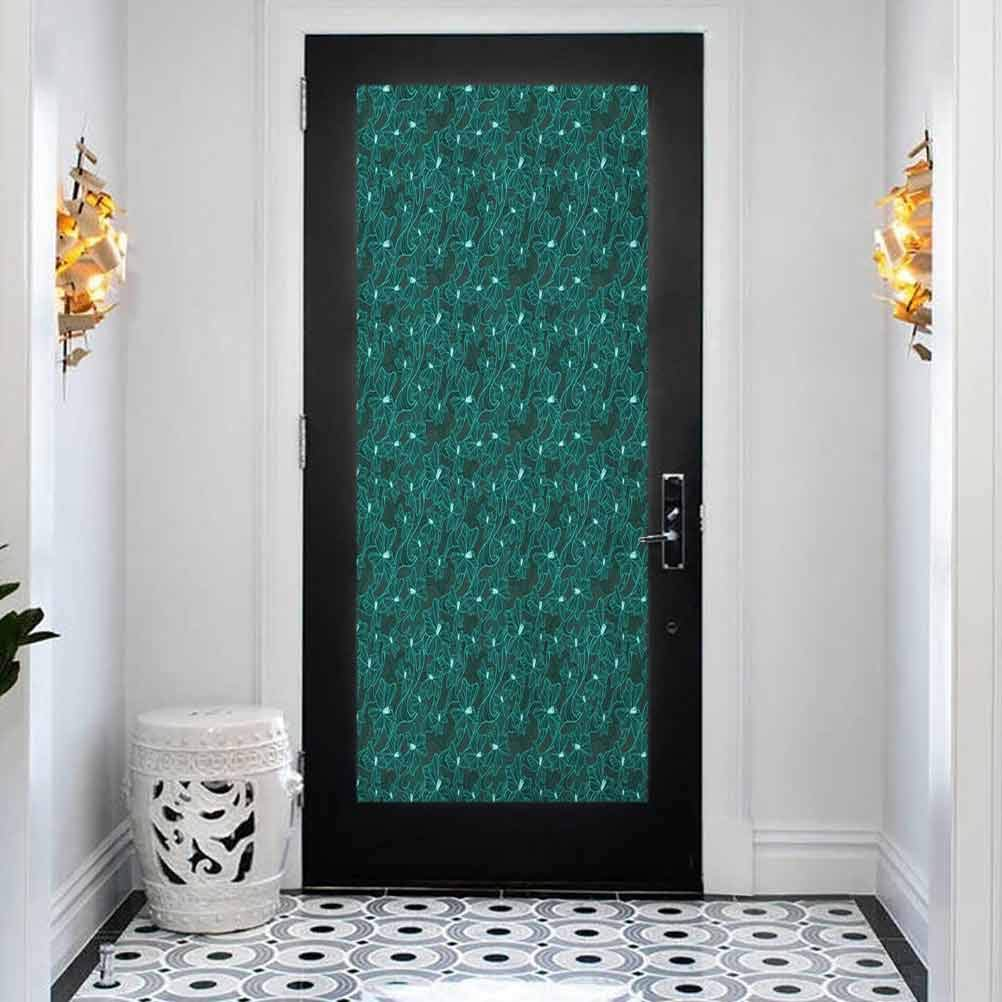 3D Door Long-awaited Sticker Murals Flor Decals Selling rankings Self-Adhesive Turquoise