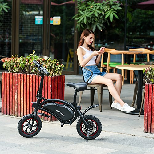 ANCHEER Folding Electric Bicycle E-Bike Scooter 350W Powerful Motor Waterproof Ebike with 12 Mile Range, APP Speed Setting