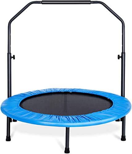 """high quality Giantex 40"""" Foldable Mini Trampoline, Fitness Rebounder Trampoline w/ Adjustable lowest Foam outlet sale Handrail, Safety Pad, Workout Exercise Trampoline for Adults Kids, Suit for Indoor Outdoor online"""