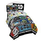 Star Wars Classic Grid Full Comforter - Super Soft Kids Reversible Bedding features Darth Vader, Stormtrooper, and Chewbacca - Fade Resistant Polyester Microfiber Fill (Official Star Wars Product)