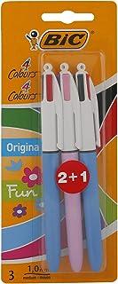 BIC 4 colores Original y BIC 4 colores Fun bolígrafos Retráctiles punta media (1,0 mm) – colores Surtidos, Blíster de 2+1