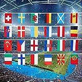 EM 2021, EM 2021 Fanartikel, Fußball Europameisterschaft 2021 Vintage Flaggen von 24 Ländern/Regionen, Geeignet für Bars Dekoration, Partys, Heim und Outdoor Deko