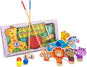 Imagination Generation Jungle Croquet Game, Indoor/Outdoor Family Fun with 6 Wooden Zoo Animal Wickets