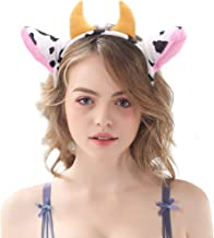 Plush Cow Ears and Horns Headband-Halloween Christmas Festival Theme Party Animal Cosplay Costume Headbands