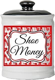 Cottage Creek Shoe Lover Gifts Round Ceramic Shoe Money Jar/Shoe Fund Piggy Bank Shoe Gifts for Women [White]
