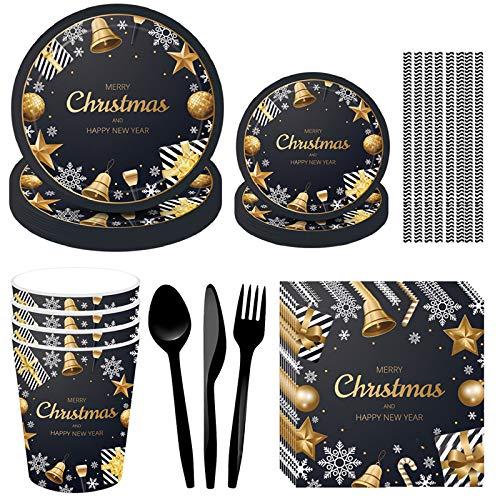 DreamJing 93pcs Vaisselle Jetable de Noël - Merry Christmas Vaisselle Noir Or Assiette Carton Gobelet Serviette Papier Cuillère à Couverts Décoration de Table de Noël Bonne Année Anniversaire