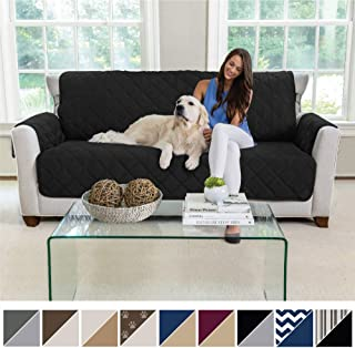 MIGHTY MONKEY Premium Reversible Sofa Slipcover, Seat Width to 70 Inch Furniture Protector, 2 Inch Elastic Strap, Washable Couch Slip Cover, Protect Sofas from Kids, Dogs, Cats, Sofa, Black Gray