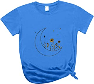 Women's T-Shirt QUINTRA O-Neck Short Sleeve T-Shirt Pullover Tops Moon and Star Ethnic Pattern Printing Fashion Casual T-S...