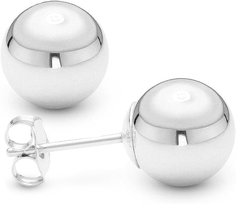 14K White Gold Ball Stud Earrings