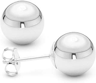 Orecchini a sfera con dado in oro bianco da 14 carati.