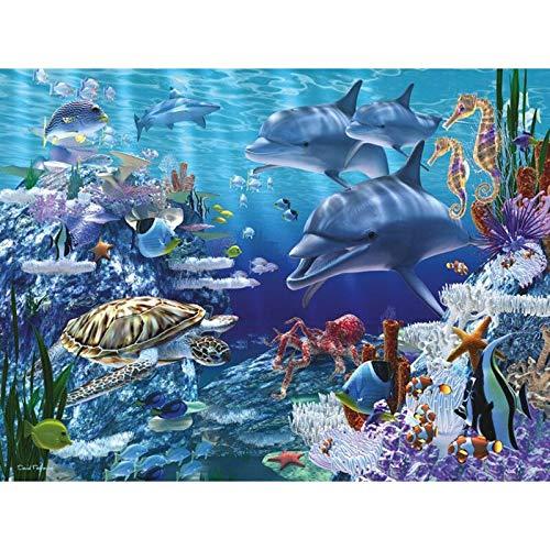 DGUOHAC 5d sceneryDiamond Malerei Voll Platz/Runde Dolphins 3D Mosaik DIY Diamant Stickerei Turtles Kreuz Stich Home Decor Geschenk 30x40cm