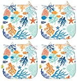 LVTXIII Outdoor Seat Cushions 16x17 Inch Patio Chair Pads U-Shape Colorful Design for Indoor Outdoor Patio Furniture Garden Home Set of 4, Seascape Coral