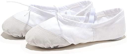 kylebetter2 Soft Flat Teacher Ballet Shoes Canvas Ballet Shoes Kids for Girls Woman,White,13.5