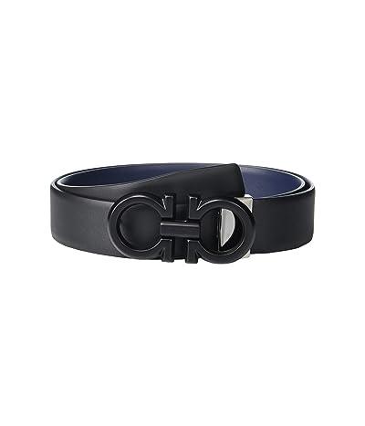 Salvatore Ferragamo Adjustable Reversible Belt 67A253 (Black/Blue Marine) Men