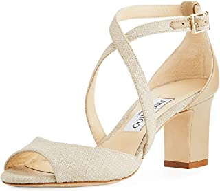 JIMMY CHOO Carrie Canvas Sandals Shoes 36 Beige