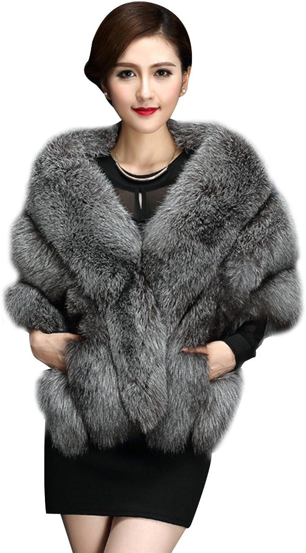 Elfjoy Luxury Faux Fox Fur Long Shawl Cloak Cape Wedding Dress Party Coat for Winter (Foxsilver)