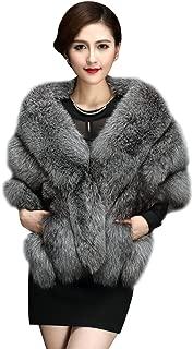 Elfjoy Luxury Faux Fox Fur Long Shawl Cloak Cape Wedding Dress Party Coat for Winter