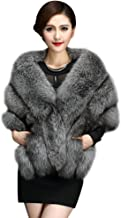 Elfjoy Luxury Faux Fox Fur Long Shawl Cloak Cape Wedding Dress Party Coat for Winter
