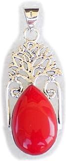 Red Coral Pendant, Silver Plated Brass Pendant, Handmade Pendant, Gift Jewelry, Women Jewellry, Fashion Jewellry, BRS-12357