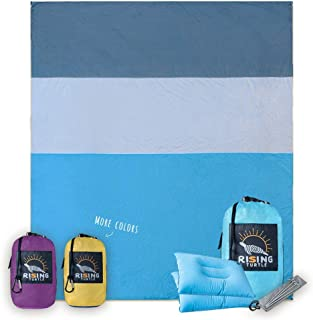 Rising Turtle Sand Proof Beach Blanket - Extra Large Oversized 8'x9', Compact Sand Free Beach Mat, No Sand, Quick Drying, Lightweight & Durable with 4 Corner Pockets & Valuable Hidden Storage