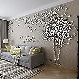 MJTP DIY 3D Enorme Árbol de Pareja Pegatinas de Pared Cristal Acrílico Calcomanías Murales Decoración Hogareña Artes de la Pared (XXL, Plata, Derecha a Izquierda)