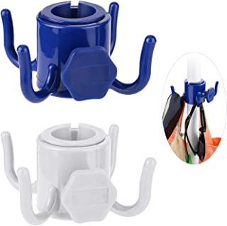 TAGVO 2 Pack Beach Umbrella Hanging Hook, 4-prongs Plastic Umbrella Hook Hanging for Towels/Hats/Clothes/Camera/Sunglasses/Bags-Durable, Fit for Beach,Camping Trips